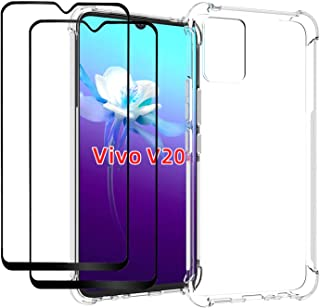 EasyLifeGo for vivo V20 Case with Tempered Glass (2 Pieces) Slim Shock Absorption TPU Soft Edge Bumper with Reinforced Cor...