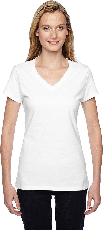 Fruit of the Loom Womens Jersey Junior V-Neck T-Shirt (SFJVR) -White -S
