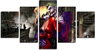 hcozy H.COZY5 Piece Dark Knight Joker and Harley Quinn Movie Canvas Painting for Living Room Home Decor Canvas Art Wall Poster (No Frame) Unframed SKU-MAX31 50 inch x30 inch…