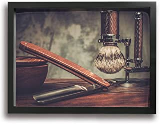 魅力的な芸術 30x40cm Shaving Accessories On A Luxury Wooden Background キャンバスの壁アート 画像プリント絵画リビングルームの壁の装飾と家の装飾のための現代アートワークハングする準備ができて