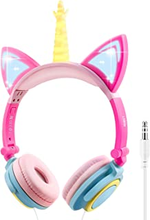 LOBKIN - Auriculares de diadema con diseño de unicornio para niños, para niñas, niños, tabletas, suministros escolares, para niños, con iluminación, auriculares plegables
