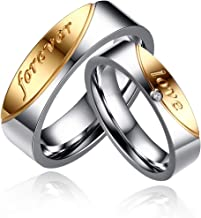 Uloveido A Pair of Titanium Gold Forever Love Double Couples Promise Rings 6mm Men and 5mm Women Wedding Bands Set Gift CR058