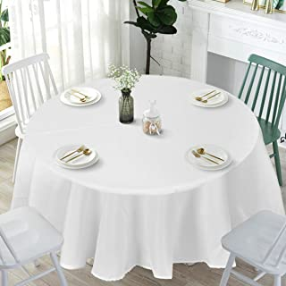 Giantex 10 Pcs Round White Tablecloth 120-Inch, Premium Polyester Table Cover, Machine Washable, Durable Table Cloths for Wedding Reception Restaurant Banquet Party (White, 120'')