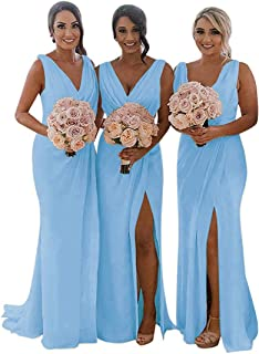 Split Bridesmaid Dresses Long V-Neck Chiffon Pleated Formal Prom Gowns for Women