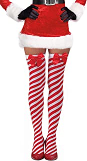 Candy Cane Red and White Striped Over The Knee Christmas Stockings with Bow