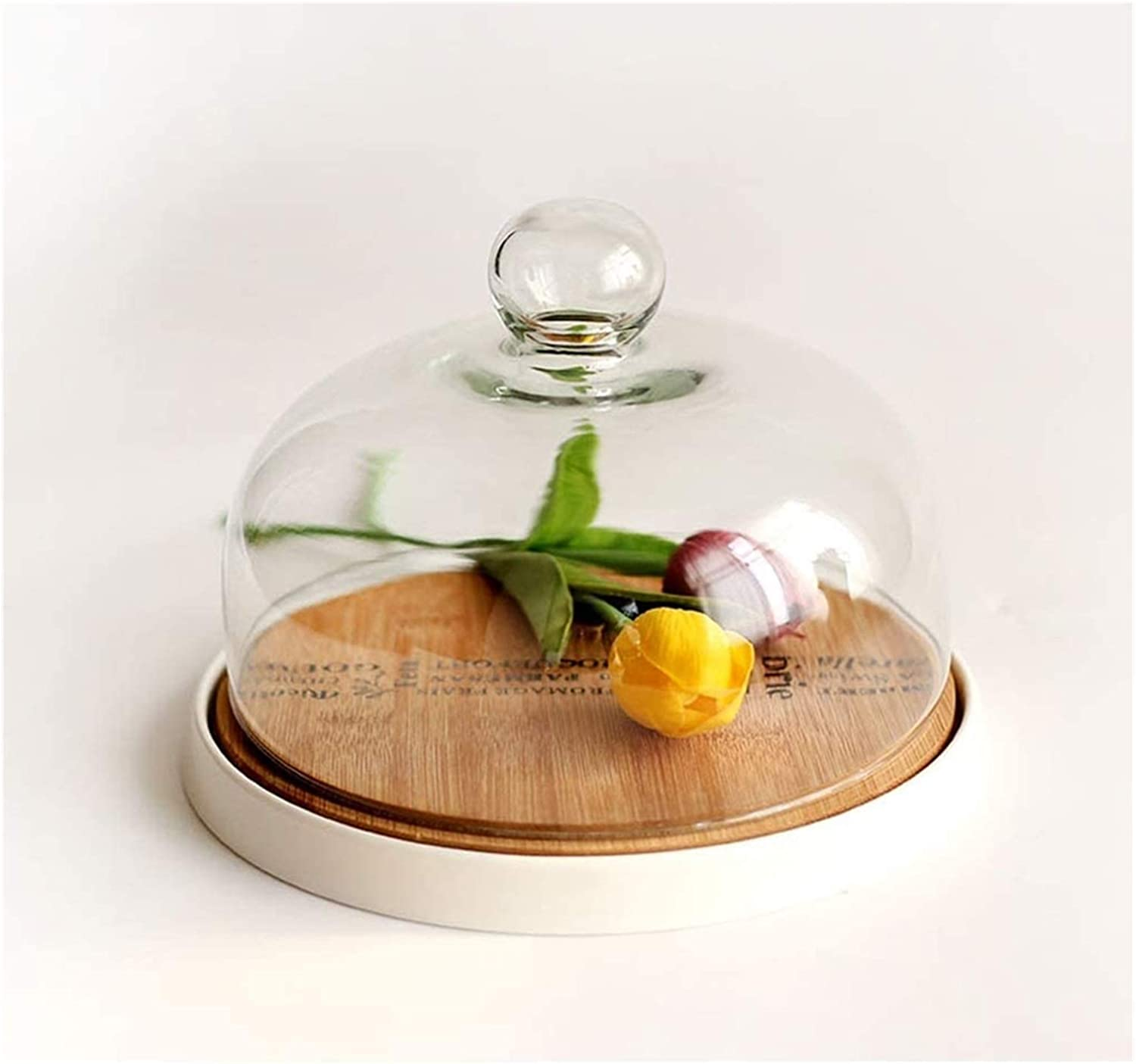 Cake Stand with Dome Plate for Quality inspection White Tray C National uniform free shipping Bamboo Display