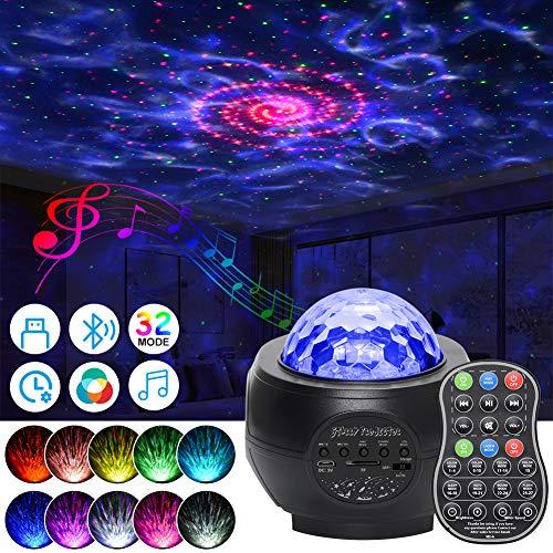LED Sternenhimmel Projektor Lampe, 32 Modes Galaxy Nachtlicht mit Fernbedienung, Bluetooth Lautsprecher, 360°Drehen, 3 Helligkeitsstufen für Kinder Erwachsene Zimmer Dekoration