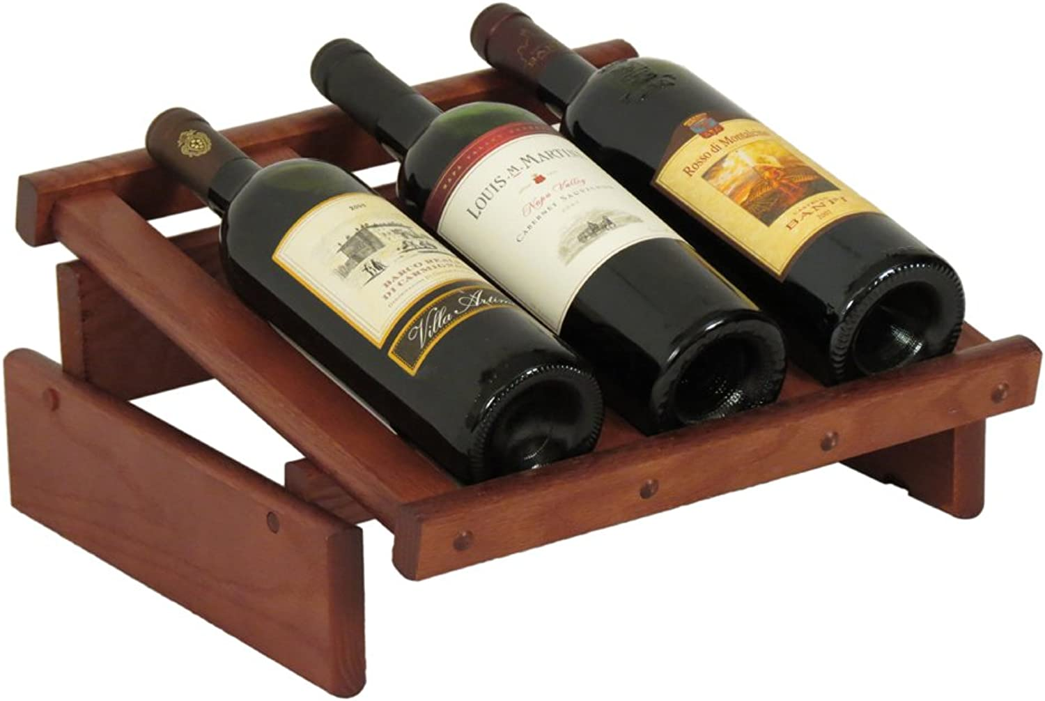 Wooden Mallet 28-Bottle Dakota Wine Rack 3 Bottle Mahogany