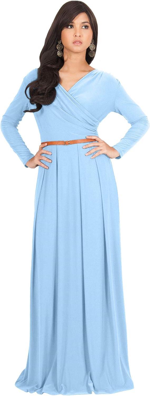 Koh Koh Womens Long VNeck Full Sleeve Semi Formal Flowy Evening Cute Maxi Dress