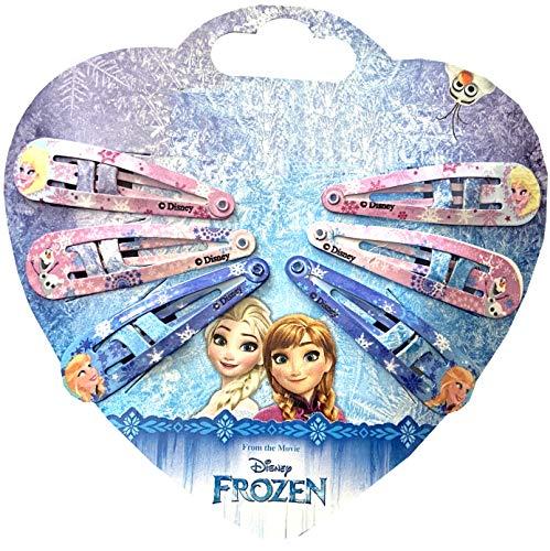 Disney Frozen Eiskönigin Haarschmuck Set - 6 Stück Haarspangen, Haarklammern in 3 Designs, ELSA, Anna (super als Mitgebsel für Partytüten, Adventskalender, Osterkörbchen oder Schultüte)