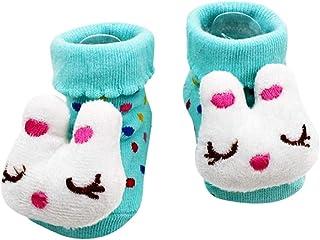 Calcetines antideslizantes para niños - calcetines para recién nacidos - 0/12 meses - fantasía - conejo - lunares celestes - hombre - mujer - unisex - idea de regalo para niños pequeños