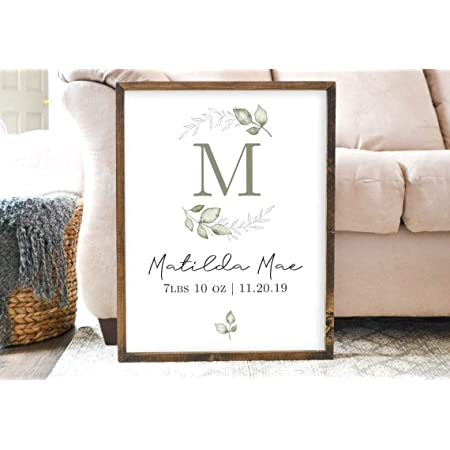 Personalized baby sign birth stat wood framed sign