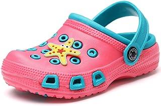 VILOCY Unisex Kids Clog Sandals Cute Garden Shoes Cartoon Slides Sandals Children Beach Slippers
