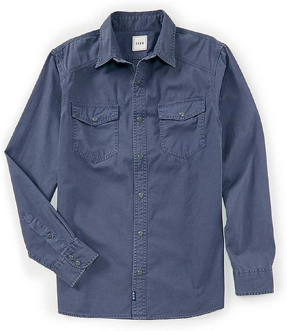 ROWM Long-Sleeve Solid Twill Snap Front Western Shirt 2XT Big & Tall Slate Blue