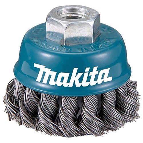 Makita D-24131-Spazzola in Filo Di M14 Insercion Da 75 Mm Con Scanalature, In Acciaio Intrecciato, 0,5 Mm