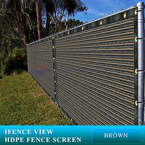 Ifenceview 4'x5' to 4'x50' Brown Shade Cloth/Fence Privacy Screen Fabric Mesh Net for Construction Site, Yard, Driveway, Garden, Railing, Canopy, Awning 160 GSM UV Protection (4' x 30')