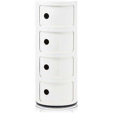 Kartell Componibili, Conteneur 4 éléments, Blanc, Base ronde