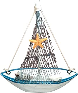 Wansan Miniature Sailboat Model Wooden Sailing Boat Navy Blue and White with Starfish Home Decor
