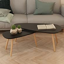 Festnight Coffee Table Set 2 Pcs Sofa Side Table Modern Style Solid Pinewood Black/White/Brown