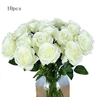 packozy 10pcs Artificial Rose Silk Flower Blossom Bride Bouquet,for Mother's Day,Wedding Party Home Decor(White)