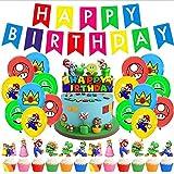 Supermarioes Party Supplies Supermarioes Globos Supermarioes Cumpleaños Pancartas Decoración para Fiestas Adorno de Torta para Niños Ducha de Bebé Fiesta de Cumpleaños