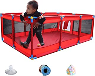 Playpen Portable Kids 10-Panel Play Yard  Pop Oversize Play With 100 Balls And Mat  For Baby Toddler Newborn Infant  Color Red