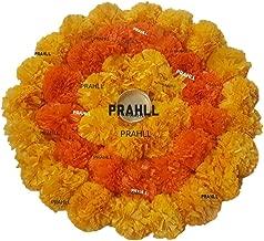 PRAHLL Rangoli Tlite Artificial Marigold Flower Mat on Canvas (12 inch, Orange and Dark Orange)