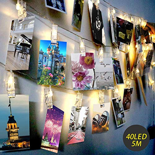 Exqline LED Photo Clip String Lights Christmas 40 Photo Clips 5M Battery Powered Fairy Lights Perfect for Hanging Photos, Notes, Paintings Card and Memos Indoor Outdoor Decoration - Warm White