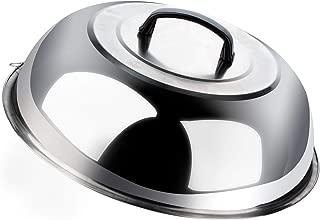 Povkeever - Tapa de acero inoxidable para vaporizar y untar, fundir queso, para usar en la plancha, la parrilla, la olla, la barbacoa, en el camping y para hervir y cocinar