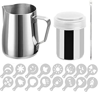 Buytra Stainless Steel Milk Frothing Pitcher 20oz Coffee Shaker Duster Icing Sugar Powder Cocoa Flour Sifter 16 Pieces Cappuccino Barista Coffee Art Stencils Pen