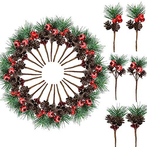 KBNIAN 30 Stück Künstliche Tannenzapfen Weihnachten Tannenzapfen Zweige Dekorationen Artificial Tannenzweige Beerenzweige, für Weihnachtsbaumschmuck, Hochzeiten, Gärten, Kunsthandwerk
