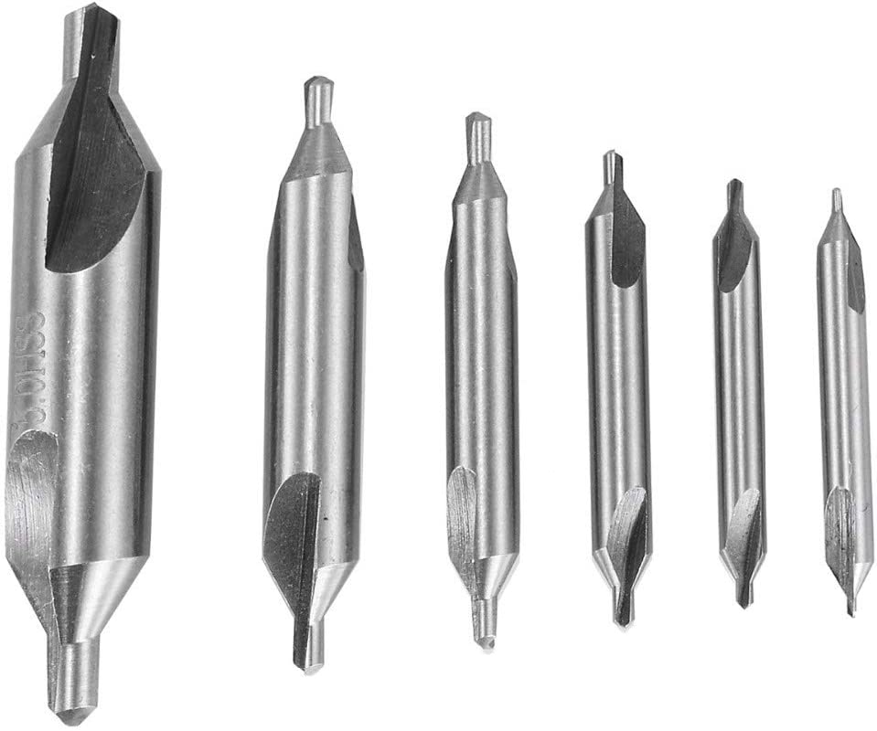6pcs HSS Center Drill Bits Set 60 Degree Combined Countersinks Kit Set Size : 5//3//2.5//2//1.5//1mm without brand WYX-MAITOUZUAN