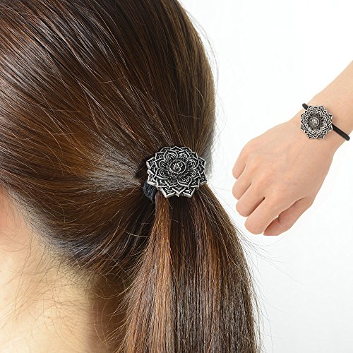 Ponytail Holder Celtic Hair Tie –Viking Women's Hair Accessory Versatile Celtic Hair Tie Bracelet Yoga Inspired Om Lotus Mandala Flower Amulet Jewelry Hair Bands Up/down for Audlts/Kids/Girls (F-M)