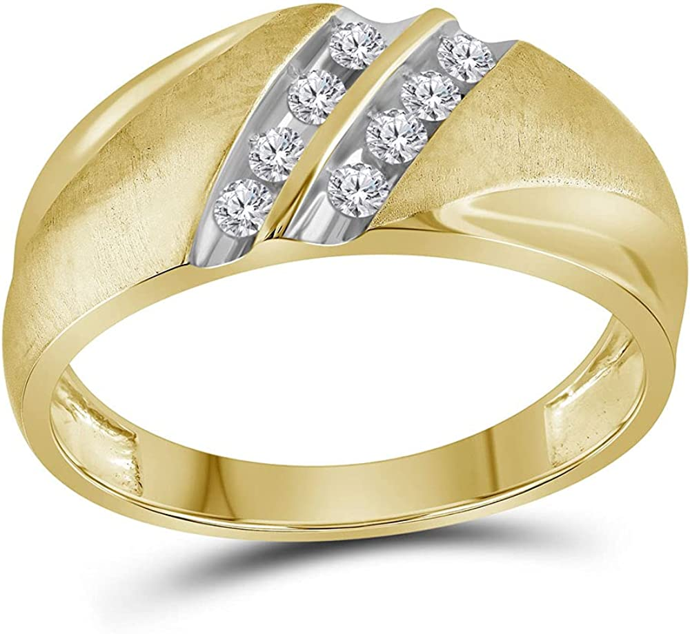Saris and Things 14kt Yellow Gold Mens Round Diamond 2-Row Wedding Band Ring 1/4 Cttw