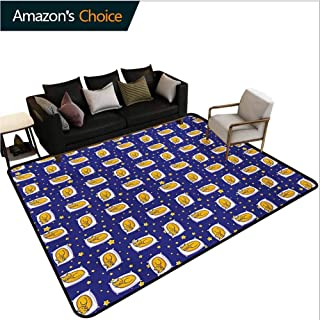 Cats Solid Area Rug Living Room, Sleeping Cats on Pillows in Starry Night Sky Sweet Dreams for Kids Fashionable High Class Living Dinning Room, (2.5'x 7') Royal Blue Earth Yellow White