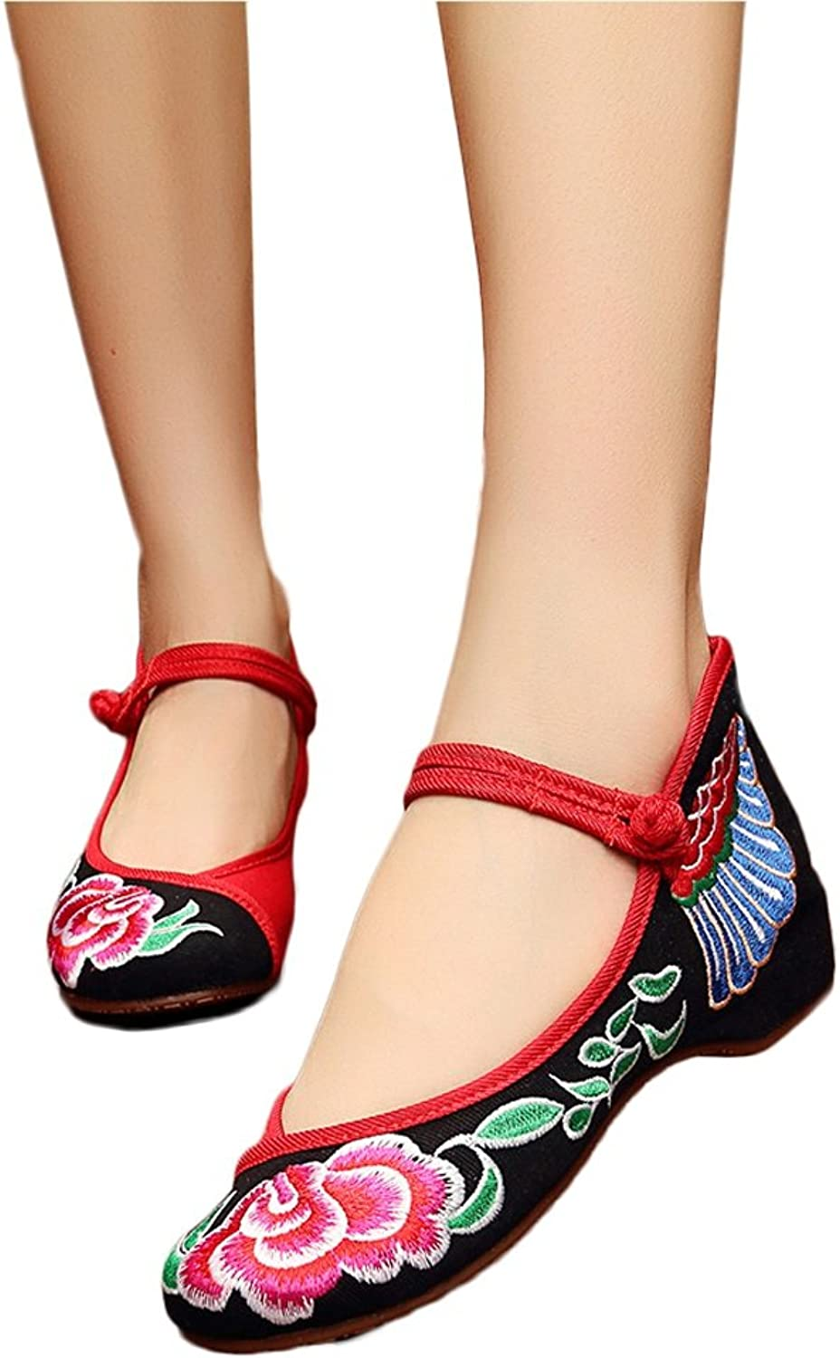 Women Flowers Embroidered shoes Flat Mary Jane shoes Casual Breathable Cloth shoes ( color   Black , Size   38 )