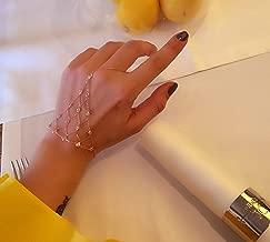 White Zircon Net Slave Bracelet Solid 925 Sterling Silver