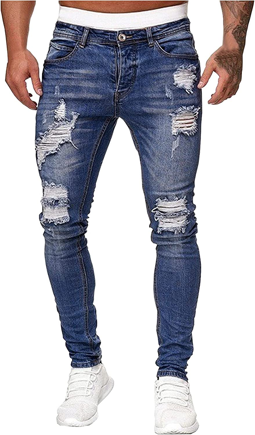 WUAI-Men Ripped Skinny Jeans Vintage Distressed Destroyed Slim Fit Stretch Biker Tapered Leg Jeans Pants with Holes