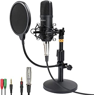 Professional Studio Condenser Microphone Computer PC Microphone Kit with 3.5mm XLR/Pop Filter/Scissor Arm Stand/Shock Moun...