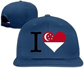 Beetful I Love Singapore Plain Adjustable Snapback Hats Caps