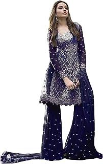 9167 Indian Dark Blue Ready To Wear Pakistani Dress Net Suit Heavy Embroidery Work Party Wedding Festive Wear Women