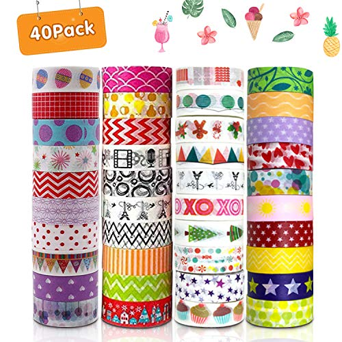 HebyTinco Washi Tape,40 Rolls Washi Klebeband Set, Washi Masking Dekorative Tape Dekorative Klebeband für DIY Dekor Planer Scrapbooking Klebstoff Schule/Party Supplies