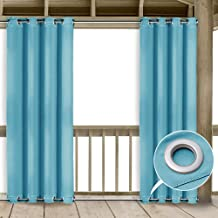 NICETOWN Outdoor Curtain Panel for Patio Home Decorations Thermal Insulated Top and Bottom Grommets Blackout Indoor Outdoor Curtain/Drape, Wind Prevention (Teal Blue=Light Blue, 1 Panel, 52 x 95-Inch)