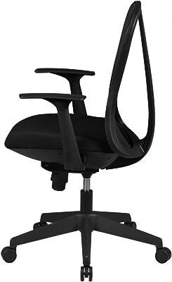 Home Collection24 Silla de Oficina Style Funda de Tela Negro – Silla Diseño giratoria de Escritorio