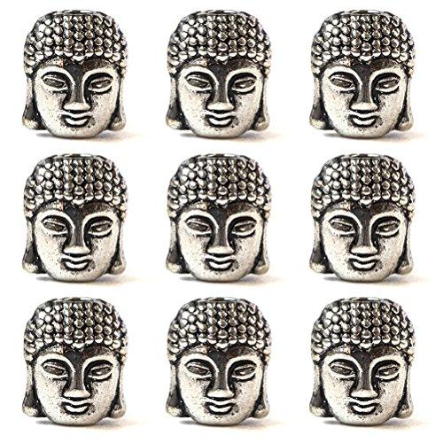 Healifty 20pcs Alliage Perles tête de Bouddha Petites Perles de métal Spirituel pour la Fabrication de Bijoux Artisanat (Argent Antique)