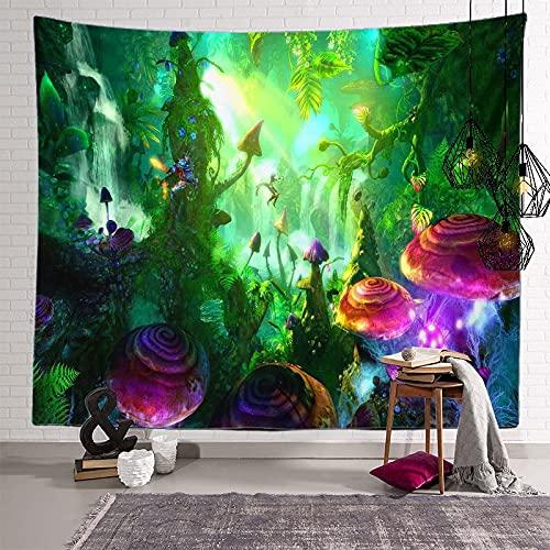 KHKJ Tapiz de Mandala de Setas, cabecero de Pared, Colcha de Arte, Tapiz de Dormitorio para Sala de Estar, Dormitorio, decoración del hogar A11 150x130cm
