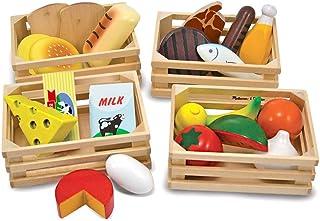 Melissa & Doug Grupos de Alimentos de Juguete, Juguete de Madera, Juego de Imitación (21 Piezas de Madera Pintadas a Mano ...