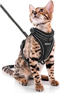 SCIROKKO Cat Harness and Leash Set - Escape Proof Adjustable Puppy Harness for Outdoor with 3M Reflective Strap, Soft Mesh with Metal Clip Cat Walking Jacket for Kitten Rabbit - Black