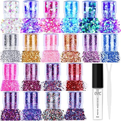 20 Colors Holographic Cosmetic Chunky Glitter Flasoo 20 Boxes Face Body Eye Hair Nail Festival product image
