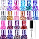 20 Colors Holographic Cosmetic Chunky Glitter, Flasoo 20 Boxes Face Body Eye Hair Nail Festival Chunky Holographic Glitter with 1 Glitter Glue for Musical Carnival Dance Party Beauty Makeup and Deco